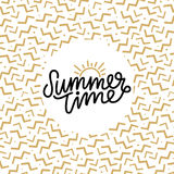 Summer time hand lettering text. Calligraphy poster with a trendy 90s memphis pattern. Hand writting Stock Photo