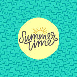 Summer time hand lettering text. Calligraphy poster with a trendy 90s memphis pattern. Hand writting Royalty Free Stock Photos