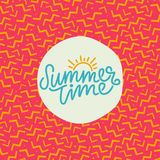 Summer time hand lettering text. Calligraphy poster with a trendy 90s memphis pattern. Hand writting Royalty Free Stock Photography