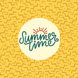 Summer time hand lettering text. Calligraphy poster with a trendy 90s memphis pattern. Hand writting Royalty Free Stock Photo