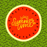 Summer time hand lettering text. Calligraphy poster, Watermelon on a trendy 90s memphis pattern. Hand writting Stock Images