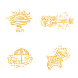 Summer time handwritten lettering and emblems of sea and rest. Vector isolated collection. Stock Images