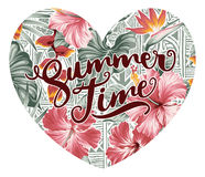 Summer time hearth with hawaiian motifs background. Vetor artwork for woman shirt custom colors vector illustration