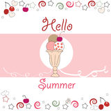 Summer time hello summer with ice cream greeting card Royalty Free Stock Images