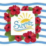 Summer time and Hibiscus royalty free illustration