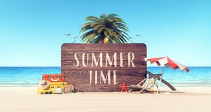 Summer time holiday background. 3D Rendering royalty free illustration
