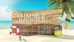 Summer Time Holiday 3d render Royalty Free Stock Photo