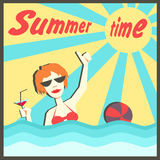 Summer time. Holidays, vacation, traveling. Vector illustration of a woman bathing in the sea and drinking cocktail. Sunlight. Ball game. Summer time. Postcard vector illustration