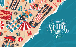 Summer time. Horizontal advertising banner of recreation, relax, travel theme. Trendy young people sunbathe on beach. Top view. Colorful vector illustration in Royalty Free Stock Photography