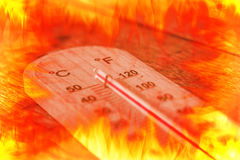 Summer time hot heat over fire Royalty Free Stock Photo