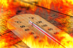 Summer time hot heat over fire Royalty Free Stock Photography