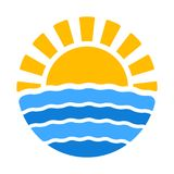 Summer time icon with sun and sea Royalty Free Stock Photography