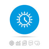 Summer time icon. Sunny day. Daylight saving. Summer time icon. Sunny day sign. Daylight saving time symbol. Copy files, chat speech bubble and chart web icons Stock Photography