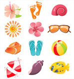 Summer time icons. 12 glossy summer time icons vector illustration