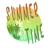 Summer Time illustration, background. Fun quote. Vintage fashion the best poster. Handwritten banner, logo or label. Colorful. Royalty Free Stock Photography