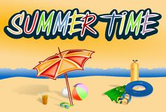 Summer time illustration with beach gears and sea Stock Images