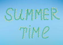 Summer time illustration with flowers and sky Stock Image