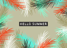 Summer time illustration. Hello summer tropical pattern with jungle leaves and palm fronds Stock Photography