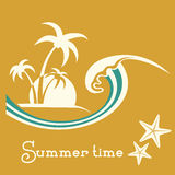 Summer time illustration with sea wave and tropical palm trees Stock Image