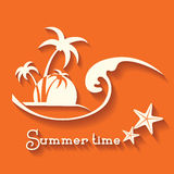 Summer time image with sea wave and tropical palm trees Royalty Free Stock Photo