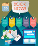 Summer time infographic, with book now text, camera and travel accessories Royalty Free Stock Photography