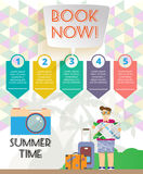 Summer time infographic, with book now text, camera and travel accessories Stock Images