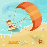 Summer time kiteboarding poster. Vector Stock Photography