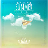 Summer Time Label with Paper Plane Royalty Free Stock Photo