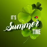 It is Summer Time Lettering Background With Clover. Vector Illus Royalty Free Stock Photography