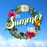 Summer Time Lettering Background with floral Wreath. Vector illu Royalty Free Stock Photos
