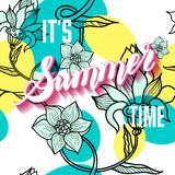 It is summer time lettering background. Vector illustration. Sum. Mer on seamless floral pattern Royalty Free Stock Photos