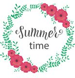 SUMMER TIME Lettering design with flowers. SUMMER TIME-Lettering design with fiowers. Season vocation, weekend, holiday badge. Summer time wallpaper. Summer vector illustration