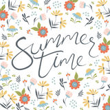 Summer time lettering on the floral background Royalty Free Stock Photos