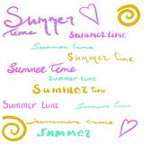 Summer time. Lettering phrase. Handwritten texts. Beautiful letters. Abstract sun and hearts.  isolatedIllustration on an white ba vector illustration