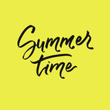 Summer time lettering on white background. Vector hand drawn calligraphy for greeting cards. Stock Photography