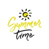 Summer time lettering on white background. Vector hand drawn illustration for greeting cards. royalty free stock images