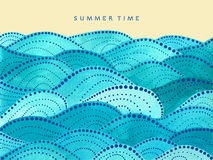 Summer time lettering on yellow background. With watercolor waves ornament - vector illustration Stock Photo