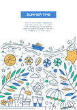 Summer Time - line design brochure poster template A4 Stock Images