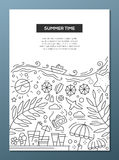 Summer Time - line design brochure poster template A4 Stock Photography