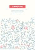 Summer Time - line design brochure poster template A4 Stock Photos