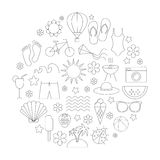 Summer time linear icons set Royalty Free Stock Images