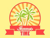 Summer time logo with fruits and ribbon. Rays of light. Banner design. Vector. Illustration royalty free illustration