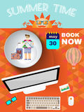 Summer time orange infographic, with book now text, computer and travel accessories Royalty Free Stock Photos