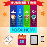 Summer time orange infographic, with book now text, gadgets and travel accessories Royalty Free Stock Photo