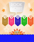 Summer time orange infographic, with book now text, icons and travel accessories Stock Image