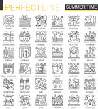 Summer time outline concept symbols. Vacation travel perfect thin line icons. Modern stroke linear style illustrations. Set Stock Photos