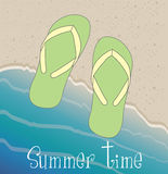Summer time. Over beach landscape background vector illustration Stock Photography