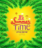 Summer Time with Palm Tree Leaves Boarder Royalty Free Stock Photography