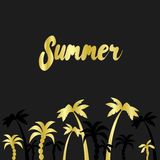 Summer time. Palm trees seaside black design. Vector illustration for a card or poster. Stock Image