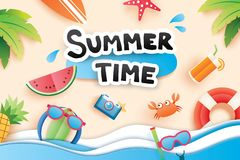Summer time with paper cut symbol icon for vacation beach background. Art and craft style. Use for banner, poster, card, cover, s. Tickers, badges, illustration royalty free illustration